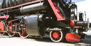 Details of Polish steam locomotive. stock images