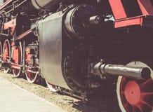 Details of Polish steam locomotive. stock photo