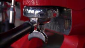 Professional coffee machine, close up stock footage