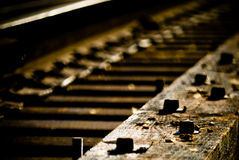 Details of railroad tracks. Close up details of railroad tracks Stock Image
