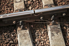 Details of rails joint with gap Royalty Free Stock Photo