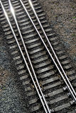 Details of railway tracks. Aerial view of details of railway tracks diverging at junction Stock Photo