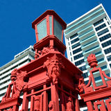 Details of the Red Fence of Captain Cook wharf in Auckland, New Stock Image