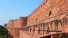 Details of red wall sculpture in Fort Agra, Northern India
