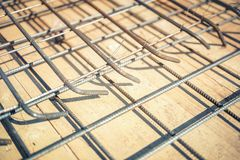 Details of reinforced steel bars at building construction site Royalty Free Stock Photography