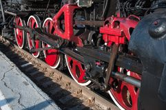 Details retro steam locomotive. Details of vintage steam locomotive Royalty Free Stock Photography
