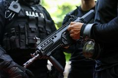 Details of a Romanian SIAS the service for special action of the Romanian Police, equivalent of SWAT in the US officer holding a. Bucharest, Romania - June 10 stock image