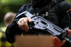 Details of a Romanian SIAS the service for special action of the Romanian Police, equivalent of SWAT in the US officer holding a. Bucharest, Romania - June 10 stock photo
