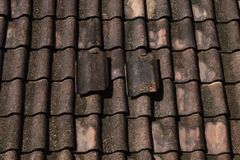 Tile, roof, roof of a house. Details of roof, roof of a house, tile, home, art royalty free stock photo