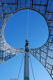 Details roof olympic stadium. Munich, Germany. Picture taken from below against blue sky Royalty Free Stock Photography