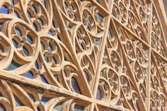 Details of the rose window of the Cathedral of Santa Maria of Palma, also known as La Seu, from the outside. Palma, Mallorca. Spain Royalty Free Stock Photo