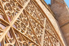 Details of the rose window of the Cathedral of Santa Maria of Palma, also known as La Seu, from the outside. Palma, Mallorca. Spain Stock Photography