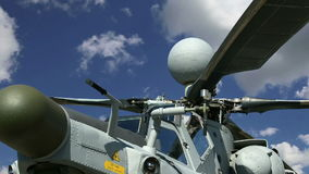Details of the rotor and part of the body of modern military helicopters closeup stock video footage