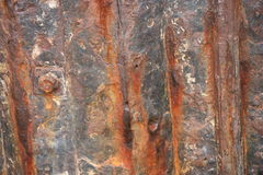Details of rusted metal panel. Close up of rusted piece of metal panelling Royalty Free Stock Images