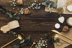 Details of a rustic wedding over wooden background. Flat Lay, Top View. Copy Space Stock Image