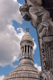 Details of the Sacre Coeur church. And panorama view of Paris Stock Photo