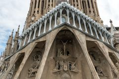Details of Sagrada Familia in Barcelona. Spain September 2017.  Royalty Free Stock Photography