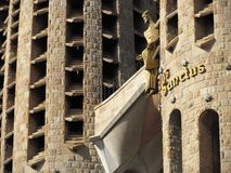Details of Sagrada Familia, the cathedral of Barcelona, the Masterpiece designed by Antony Gaudi royalty free stock photo