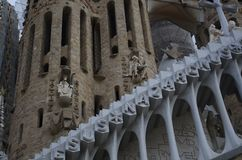 Details of Sagrada Familia cathedral in Barcelona, Spain royalty free stock photo