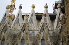 Details of Sagrada Familia cathedral in Barcelona, Spain stock photography