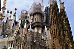 Details of the sagrada familia. View of drammatic sky after sunset Stock Images