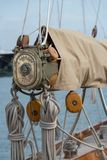Details of a sailboat in old style royalty free stock photography