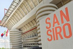 Milan, Italy, San Siro football stadium. Details of San Siro Meazza football soccer stadium in Milan , Italy, home of Milan and Inter football teams stock photo