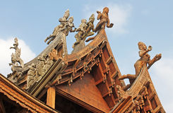 Details of Sanctuary of Truth temple, Pattaya, Thailand Stock Image