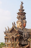 Details of Sanctuary of Truth temple, Pattaya, Thailand royalty free stock photo