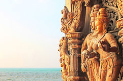 Details of Sanctuary of Truth temple, Pattaya, Thailand royalty free stock images
