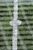 Details scene soccer ball sports. On artificial grass Stock Photos