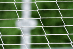 Details scene soccer ball sports. On artificial grass Stock Photography
