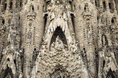 Details of sculptures on the impressive cathedral Sagrada Familia designed by Gaudi Royalty Free Stock Image