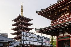 Details of Senso-ji temple in Tokyo, Japan at sunset stock photo