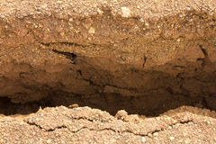 Details of the separation of gravel road. Stock Photography