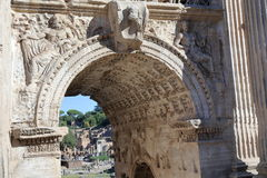 Details of Septimius Severus Arch in Rome Stock Image