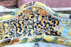 Details of the serpentine ceramic bench at Parc Guell designed b royalty free stock photo