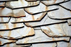 Details of shale roof on a house built from schist in Piodao, one of Portugal`s schist villages in the Aldeias do Xisto stock photography