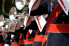 Details from a showband. Details form a Show and Marchingband, Uniforms and Instruments Stock Image
