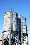 The details of silos, containers for grain with pigeons. On top of that to rest stock image