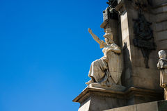 Details Statue Christopher Columbus city Barcelona Royalty Free Stock Images