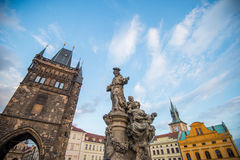 Details of statues on Charles bridge, Prague. Stock Photography
