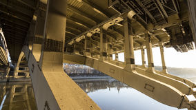 Details of steel bridge. Over moscow river Royalty Free Stock Image