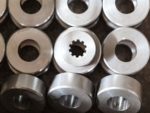 Details. Steel washers, rollers, bushings, after turning. One pi Royalty Free Stock Photos
