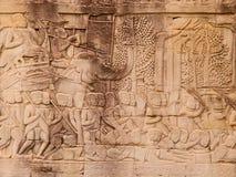 Details of stone carvings at Bayon Temple , Angkor Wat, Cambodia Royalty Free Stock Photos