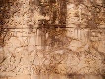Details of stone carvings at Bayon Temple , Angkor Wat, Cambodia Stock Photo