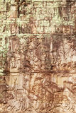 Details of stone carvings at Bayon Temple , Angkor Wat, Cambodia. Details of stone carvings at Bayon Temple in Angkor Thom, Cambodia Royalty Free Stock Photos