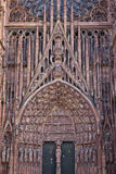 Details of stone figures on the facade of Strasbourg Cathedral Stock Image