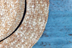 Details of a straw hat, close-up, isolated on white Stock Images