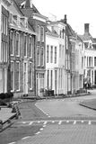 Street. Details of a street lined with houses in Middelburg Zeeland Netherlands Royalty Free Stock Images